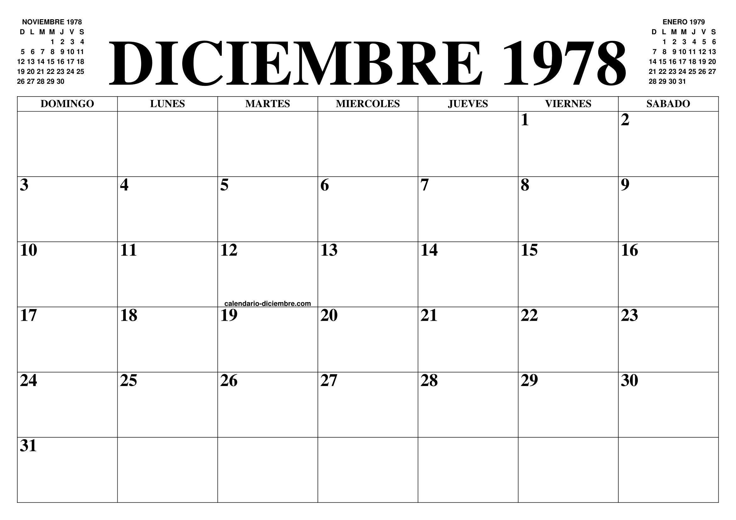 1978 Calendario.Calendario Diciembre 1978 El Calendario Diciembre Para