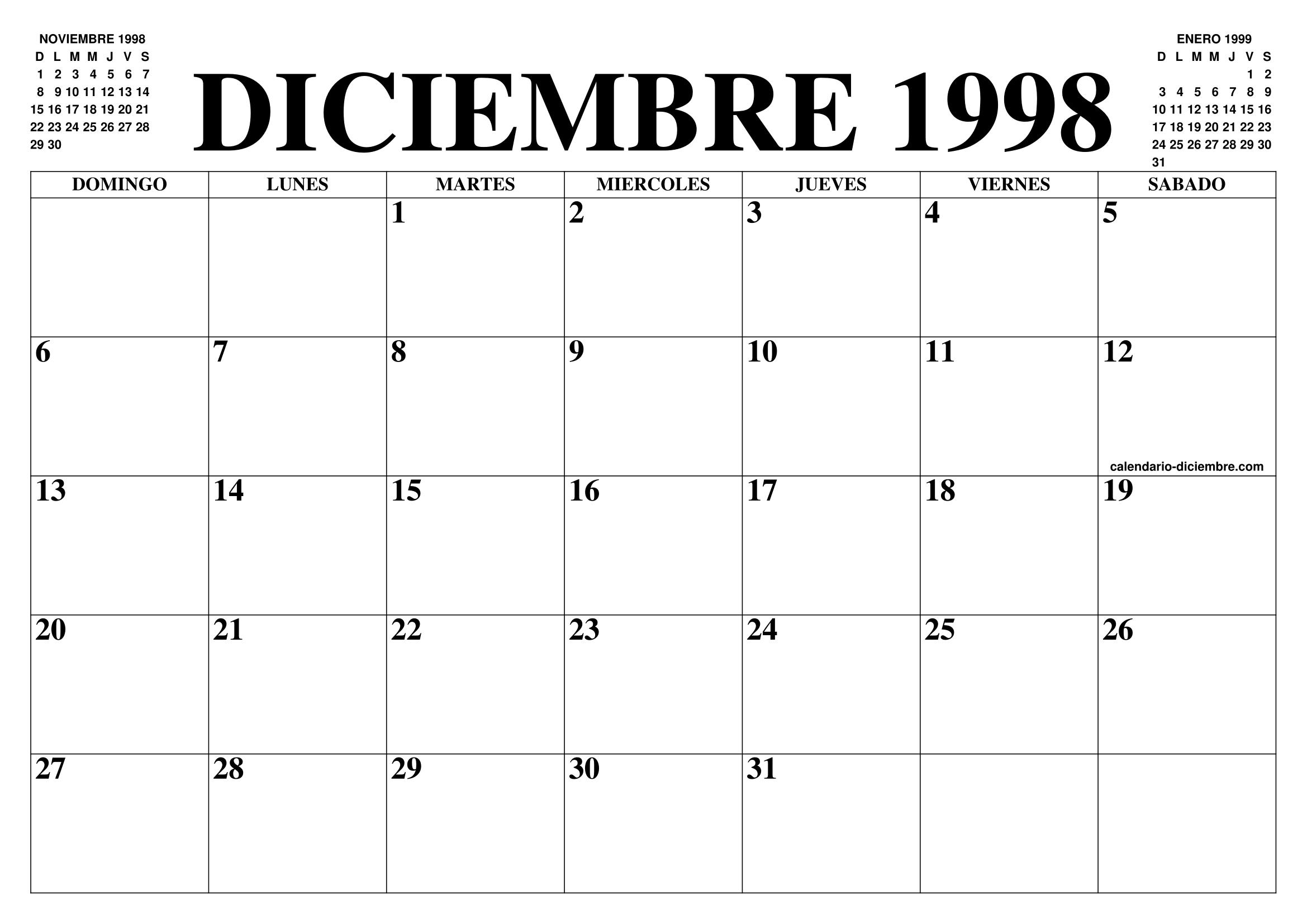 1998 Calendario.Calendario Diciembre 1998 El Calendario Diciembre Para
