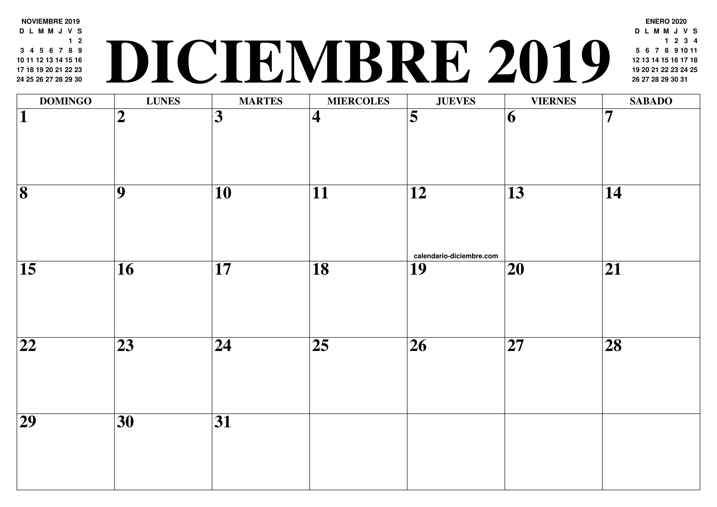 Calendario Diciembre 2019 Para Imprimir Pdf.Calendario Diciembre 2019 2020 El Calendario Diciembre